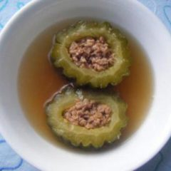 Stuffed bitter gourd soup