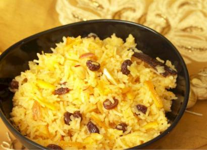 Sweet Saffron Rice with Currants and Pistachios
