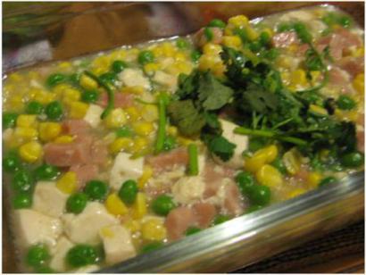 Sweet corn peas and tofu