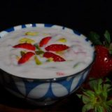 Strawberry and pista phirni