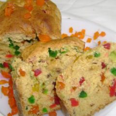 Orange flavored candied fruits quick bread