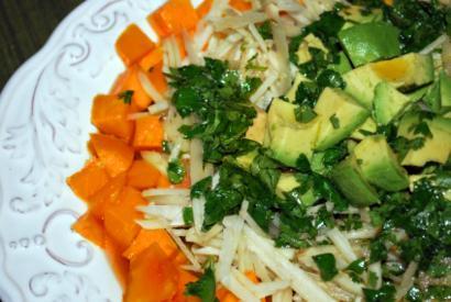 Papaya, Avocado and Jerusalem Artichoke salad