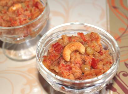 Nutty Farina Halva with Sliced Carrots