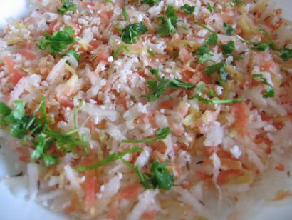 Shredded Radish, Coconut and Carrot Salad