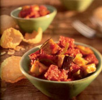Succulent Eggplant & Panir Cheese in Spicy Tomato Glaze