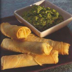 Feta & Potato Spring Rolls with Green Pea Chutney