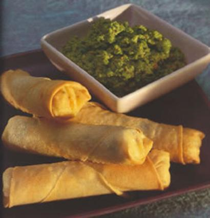 Feta & Potato Spring Rolls with Green Pea Chutney