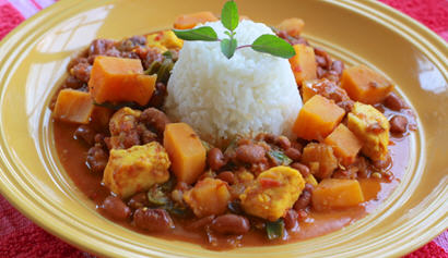 Sweet Potato and Paneer Chili over Rice