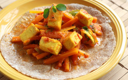 Carrot Jalapeno and Paneer Soft Tacos