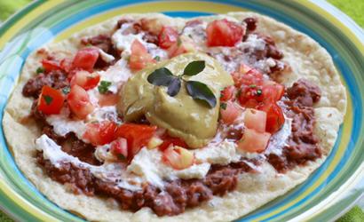 Homemade Mexican Bean Tostada
