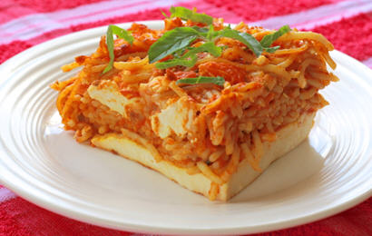 Spaghetti Pie with Paneer Crust