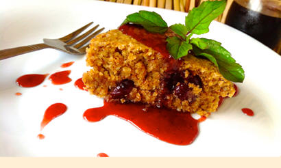 Moist Oatmeal Breakfast Cake Served with Homemade Roselle (Jamaica) Jam