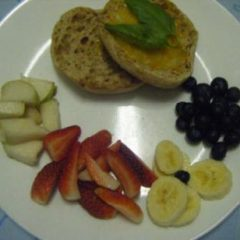 Whole Grain Muffin with Cheese and Fruits