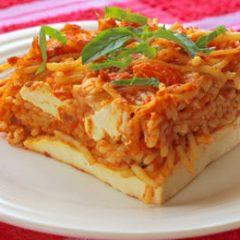 Spaghetti Pie with Paneer Crust