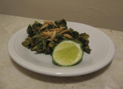 Greens and plantain with Toasted Almonds