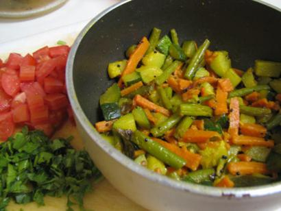 Carrots beans and zucchini mix