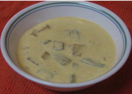 Potato and  Okra Yogurt Sauce