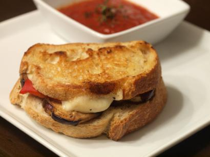 Grilled bread with eggplant tomato and cheese