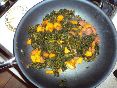 Seasoned Spinach with Julienne Potatoes