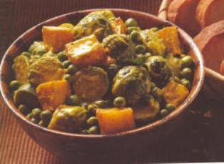 Brussels Sprouts, Potatoes & Peas with Sour Cream