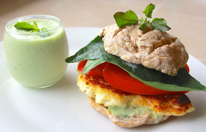 Paneer Lettuce and Tomato Sandwich with Sweet Basil Mayonnaise